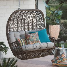 Belham Living Rayna All Weather Wicker Loveseat Porch Swing With Cushion    LV 850