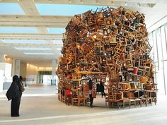 Artist Tadashi Kawamata Stacks Hundreds of Chairs Into a 20-Foot-High Sculpture   Inhabitat - Sustainable Design Innovation, Eco Architecture, Green Building