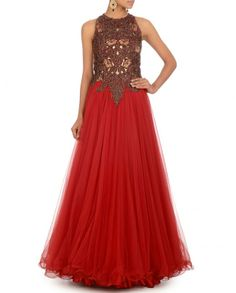 Lust Red Gown with Embroidery & Bugle Beads- Buy Dresses,Expressionist by Jaspreet,Reception,Day 6 Online   Exclusively.in
