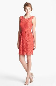 """Pop of """"paprika' with the Jenny Yoo 'Harlow' Tea Lace Sheath Dress (also in navy and mustard)"""