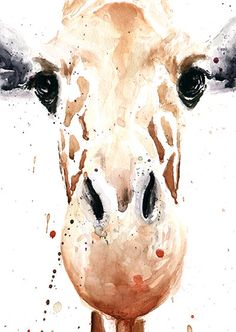 GIRAFFE PAINTING giraffe watercolor animal art by SignedSweet