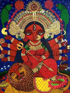 Goddess Durga Printed Artwork on Canvas Madhubani Art, Madhubani Painting, Kalamkari Painting, Durga Maa, Durga Goddess, Kali Puja, Indian Folk Art, Indian Artist, Psychedelic Art