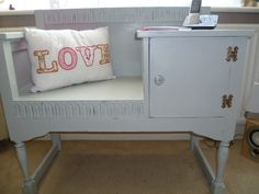 Hall Telephone Table - Shabby Chic - Annie Sloane Chalk Paint (a bit of this and a bit of that - light grey