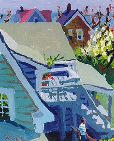 "Backyard with Figure, Provincetown by Charles Sovek, 14"" x 10"", acrylic on board 