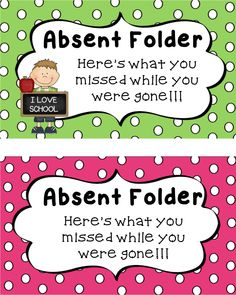 FREE! Absent folder printables for when students are absent. Awesome.   #backtoschool #freebie