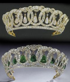 A double image of the Vlad tiara with both pearls and emeralds, and the new Queen Elizabeth started to wear her grandmother's tiara when she went to see the Royal Film Performance of 'Beau Brummel' in 1954. My thanks to 'The Court Jeweller' for the info..