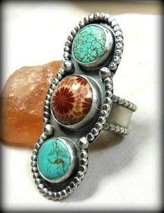 Triple Decker Cocktail Ring, Fossil Coral ,Turquoise and  Silver...wow!