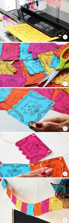 Make a garland with this free mini papel picado printable. Decorate your home or the Day of Dead altar Theme Halloween, Holidays Halloween, Halloween Crafts, Halloween Decorations, Fiesta Decorations, Paper Decorations, Bar Mexicano, Day Of The Dead Party, Day Of Dead