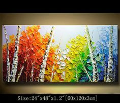 Contemporary Wall Art Palette Knife Paintingcolorful Tree Paintingwall Decor Home DecorAcrylic Textured Painting ON Canvas By Chen 517