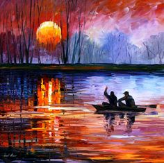 FISHING ON THE LAKE — PALETTE KNIFE Oil Painting On Canvas By Leonid Afremov -born 1955, Belarus
