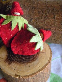Strawberry Baby in Pouch, Summer Toy, Waldorf Gnome Baby, strawberry, red, green, necklace or ornament