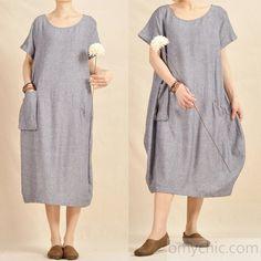 light blue oversize maxi dress natural linen cotton fabric