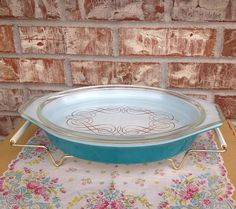 Pyrex Princess Promotional -1960- Covered Casserole - Turquoise / Teal Casserole with Scrolling Lid  on Etsy, $37.95