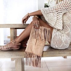 Crochet dress. Fringe clutch. Fresh boho chic style.