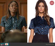 Daisy's blue ruffled checkerboard print top on Madam Secretary.  Outfit Details: http://wornontv.net/46590/ #MadamSecretary