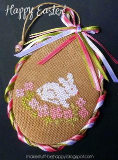 cross stitch Easter bunny egg ornament