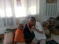 Me with Guru Mata Amma at her Ashram in Bangalore - India. One of her main devotees is on the far left.
