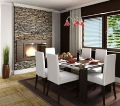 Wow, I am loving this. I am against dining rooms but this is hot. red dining room-plus I am loving the stone mixed with all the crisp, clean lines Dining Room Design, House Interior, Dining Room Wall Decor, Apartment Decor, Red Dining Room, Interior, Dining Room Curtains, Small Apartment Decorating, Home Decor