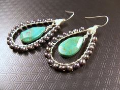 Turquoise and sterling earrings with peacock freshwater pearls and sterling silver ear wires