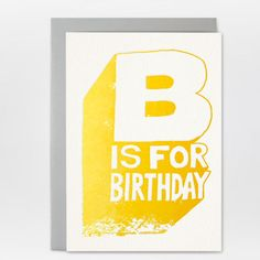 Letterpress Birthday Card with lovely lined envelope - B IS FOR BIRTHDAY!!! / Kikisoso Letterpress