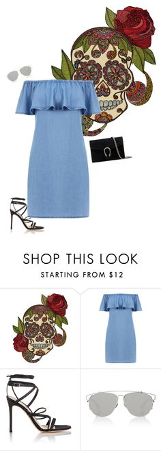 """""""Untitled #543"""" by sophiatsunis on Polyvore featuring Warehouse, Gianvito Rossi, Christian Dior and Gucci"""