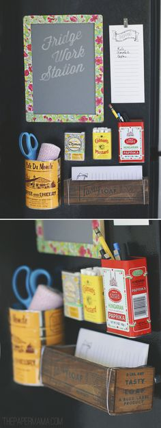 How cute is this DIY fridge work station from Style Spotter @Chelsey The Paper Mama? Find out how she made it here: http://www.bhg.com/blogs/better-homes-and-gardens-style-blog/2012/09/06/diy-ify-fridge-work-station/?socsrc=bhgpin090612DIYkitchenworkstation
