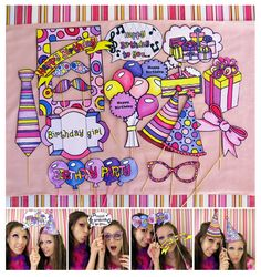 birthday+party+photo+props | girl birthday photo booth props in pink, purple and yellow - perfect ...