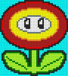 Mario Fire Flower Perler Bead Perler Bead Pattern | Bead Sprites | Characters Fuse Bead Patterns