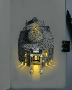 Architecture Drawing Art, Unique Architecture, Ink Pen Drawings, Realistic Drawings, Cityscape Drawing, City Sketch, Wall Lights, Ceiling Lights, Pen Art