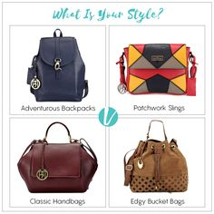 Your Bag says a lot about you. Chose wisely! Shop these by Product Codes: (Backpack - 47688, Sling - 47740, Handbag - 46877, Bucket Bag - 47778).