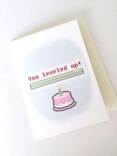 Level Up Birthday Card // Geeky Birthday Card // Gamer Greeting Card // 8 Bit Card Art . - Level Up Birthday Card // Geeky Birthday Card // Gamer Greeting Card // 8 Bit Card Art Card // Retr - Birthday Cards For Friends, Bday Cards, Funny Birthday Cards, Handmade Birthday Cards, Diy Birthday, Birthday Greetings, Birthday Gifts, Card Birthday, Birthday Ideas