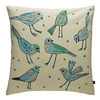 Habitat Birdy Blue & Green Bird-Patterned Cushion 45 x 45cm homebase