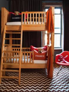 An 8-by-10-foot shared Brooklyn bedroom for twins? Yes, it can be done with creative use of vertical storage space and multi-purposing tricks.