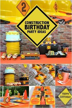 """Can you build on these boy's construction themed birthday party ideas? Use hard hats and tool belts, orange, yellow and black décor and even """"nuts and bolts""""! Construction Birthday Parties, Construction Party, 4th Birthday Parties, Birthday Fun, Birthday Ideas, Birthday Banners, Birthday Invitations, Third Birthday, First Birthdays"""