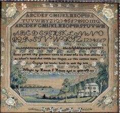 An 1832 needlework sampler by Hannah Holmes, of Plymouth