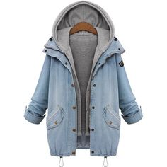 Women Denim Hooded Long Sleeve Drawstring Outerwear Plus Size Slim Casual Blue Vest Trench Suit Jeans Parka