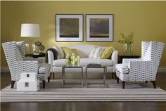 A high contrast palette of yellow and gray gives this room energy and dimension.