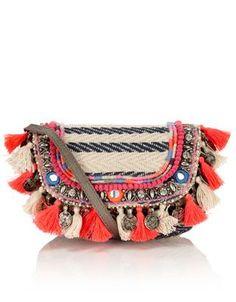 Cara tassel woven stripe across body multi accessorize gypsy chic, hippie c Hippie Look, Hippie Chic, Boho Chic, Gypsy Chic, Boho Style, Bohemian Gypsy, Fashion Bags, Boho Fashion, Fashion Jewelry