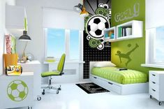 38 Inspirational Teenage Boys Bedroom Paint Ideas 7 Declan would love this soccer room Boys Bedroom Paint, Soccer Bedroom, Boys Bedroom Decor, Bedroom Themes, Girls Bedroom, Bedroom Ideas, Teen Bedrooms, Bedroom Pictures, Small Bedrooms