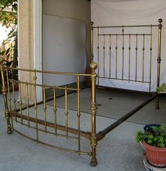 Items similar to Antique Brass Bed full size with cast iron rails Victorian Machine age on Etsy Girl Room, My Room, Antique Iron Beds, Wedding Bed, Cast Iron Beds, Brass Bed, Beach Wallpaper, Full Bed, Metal Beds