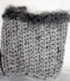 Boot Cuffs Handmade Crochet Acrylic Gray Flecked with faux fur top #Handmade
