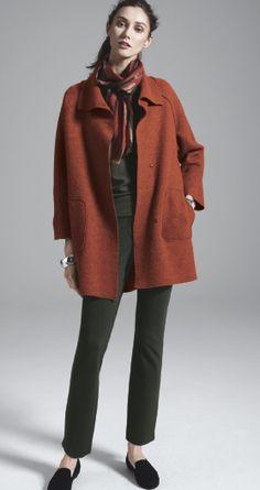 Eileen Fisher Wool Coat, Jersey Tee, Scarf, & Slim Knit Pants #Nordstrom