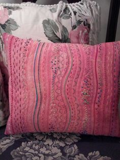 Stupendous Stitching finished pink pillow - hand painted muslin using Dye-Na-Flow - sewing machine and hand embroidery. CAM00078 by jplier, via Flickr, Jackie Plier