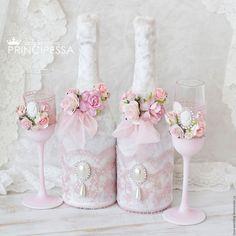 """Купить """"Нежная роза"""" чехлы на свадебное шампанское - бледно-розовый, аксессуары, Аксессуары handmade"""