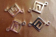 Link Silver Plated Brass 12x12mm Greek key diamond by darlamarie23, $3.05