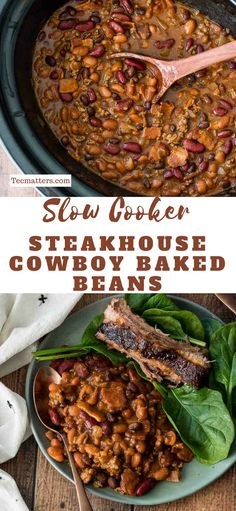 Slow Cooker Steakhouse Cowboy Baked Beans are a hearty mix of ground beef, bacon and three types of beans in a tangy, sweet and slightly spicy sauce. #food #recipe #recipeoftheday #4thofjuly #meals #tecmatters #easyrecipe #dinnerrecipes #dinner