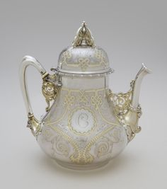 Silver Teapot with Ivory - Designed by Edward C. Moore, American, 1827 - Made by Tiffany & Company, New York, 1837 - present. Circa 1866 - Collection of the Philadelphia Museum of Art Teapot Design, Teapots Unique, Silver Teapot, Philadelphia Museum Of Art, Teapots And Cups, Tea Art, Tea Service, My Tea, Vintage Tea