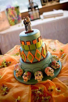 Dia de los Muertos Wedding Cake!