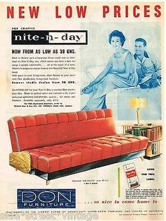 1959 don furniture ad 1950s Furniture, Mid Century Furniture, Modern Furniture, Furniture Design, Vintage Advertisements, Vintage Ads, Vintage Posters, Mid Century Decor, Mid Century Design