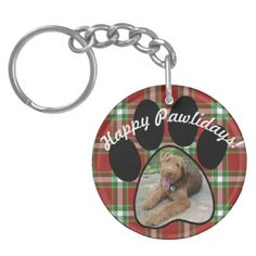 Plaid Pattern Paw Print Custom Picture Of Your Pet Keychain - Xmas ChristmasEve Christmas Eve Christmas merry xmas family kids gifts holidays Santa
